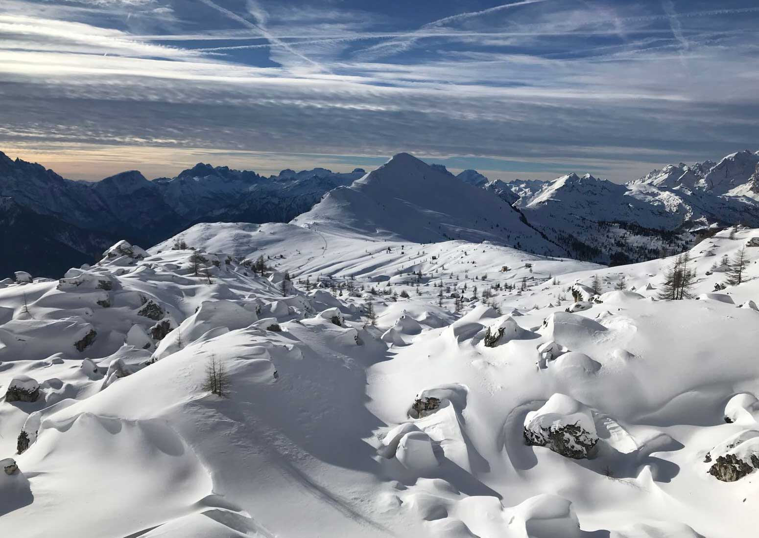 Dolomiti panorama inverno